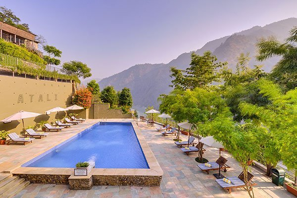 Hotel Swimming Pool at Atali Ganga in Rishikesh