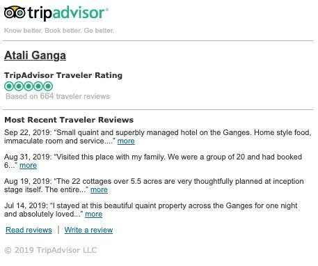 TripAdvisor rates Atali Ganga as the Best Hotel in Rishikesh